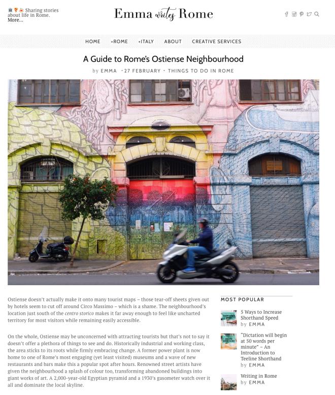 Emma Writes Rome Webpage